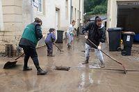 Hochwasser nach Starkregen , Larochette , Fiels , Aufräumarbeiten Foto:Guy Jallay/Luxemburger Wort