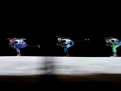 Athletes competing during Women 12,5Km Mass start competition, part of IBU World Cup Biathlon in Nove Mesto, Czech Republic.