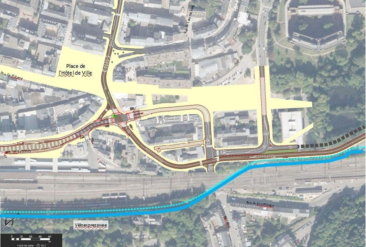 Voici comment le flux de circulation dans le centre d'Esch va changer. Sur la droite, la ligne de bus en direction d'Esch-Schifflange. Sans oublier les voies qui seront réservées aux transports en commun.