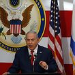 Israel's Prime Minister Benjamin Netanyahu delivers a speech during the opening of the US embassy in Jerusalem on May 14, 2018. The United States moved its embassy in Israel to Jerusalem after months of global outcry, Palestinian anger and exuberant praise from Israelis over President Donald Trump's decision tossing aside decades of precedent. / AFP PHOTO / MENAHEM KAHANA