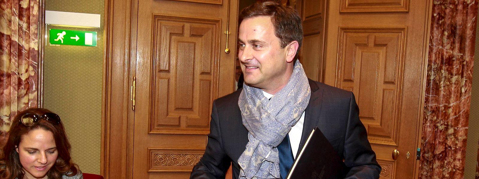 Xavier Bettel lors de son entrée à la Chambre des Députés et quelques instants avant de prononcer la déclaration sur l'état de la nation version 2015