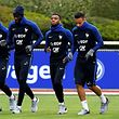 (From L) French national football team's defender Benjamin Mendy, midfielder Tiemoue Bakayoko, midfielder Thomas Lemar, midfielder Corentin Tolisso and forward Kylian Mbappe run during a training session on March 20, 2017, in Clairefontaine near Paris as part of the team's preparation for the upcoming World Cup 2018 qualifiers.   / AFP PHOTO / FRANCK FIFE