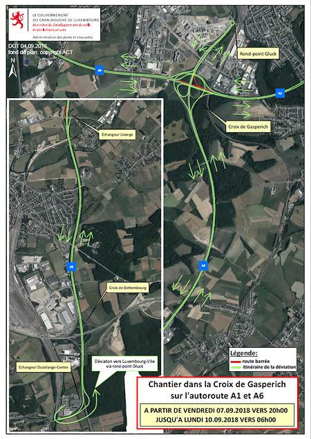 In Rot gezeichnet sind die gesperrten Streckenabschnitte, in Grün die Umleitungen.