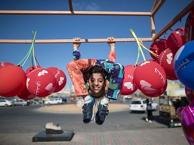 12-year-old Palestinian Mohammed al-Sheikh, shows his skills in Gaza City