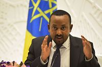 (FILES) In this file photo taken on August 01, 2019 Ethiopia's Prime Minister Abiy Ahmed gives a press conference at the Prime Minister's office in the capital, Addis Ababa. - Ethiopian PM Abiy Ahmed wins Nobel Peace Prize, the Nobel Academy announced on October 11, 2019 in Oslo. (Photo by MICHAEL TEWELDE / AFP)