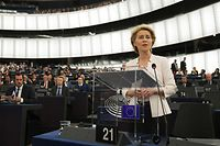 German former Defence Minister and newly-appointed EU commission Ursula von der Leyen delivers a speech during her statement for her candidacy for President of the Commission at the European Parliament on July 16, 2019 in Strasbourg, eastern France. (Photo by FREDERICK FLORIN / AFP)