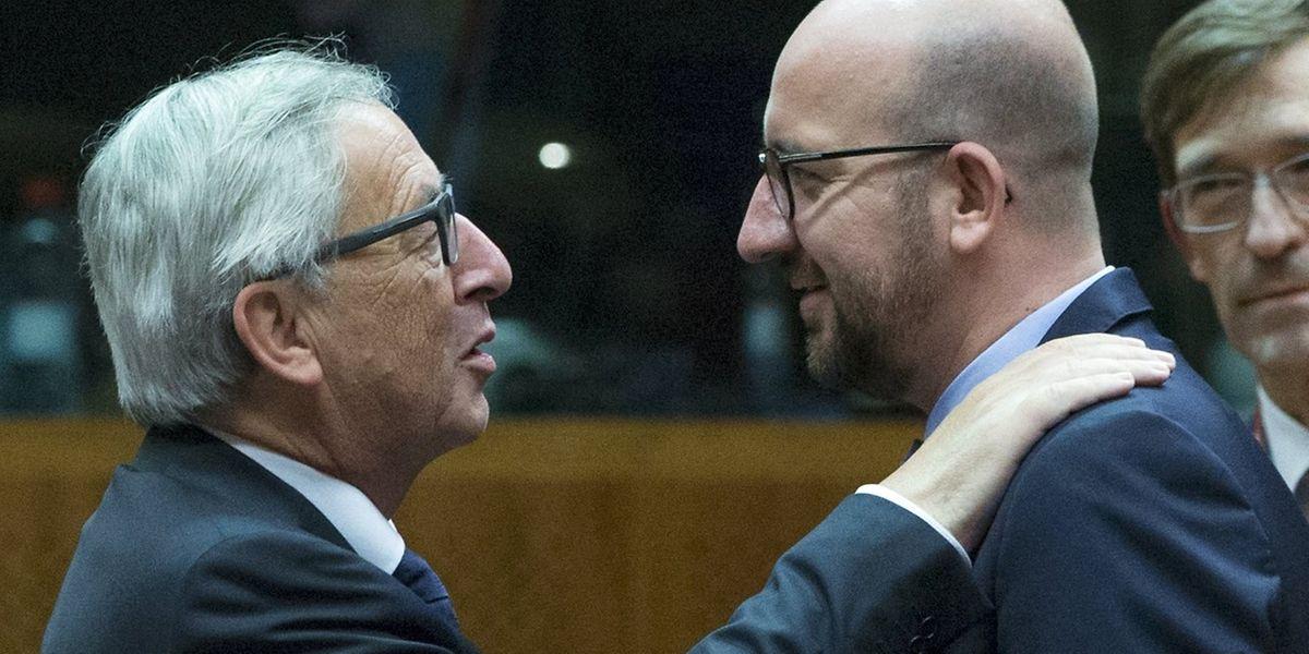 EU-Kommissionspräsident Jean-Claude Juncker im Gespräch mit dem belgischen Premier Charles Michel.