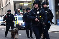 TOPSHOT - Armed police with dogs patrol along Cannon Street in central London, on November 29, 2019 after reports of shots being fired on London Bridge. - The Metropolitan Police on Friday said several people were injured and a man was held after a stabbing near London Bridge in the centre of the British capital. (Photo by Ben STANSALL / AFP)