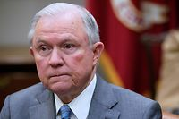 (FILES) In this file photo taken on February 22, 2018 US Attorney General Jeff Sessions attends a meeting with US President Donald Trump with state and local officials on school safety in the Roosevelt Room of the White House in Washington, DC. - US Attorney General Jeff Sessions lashed back at increasing political pressure on him from President Donald Trump on August 23, 2018, declaring the Department of Justice would not bow to politics. (Photo by MANDEL NGAN / AFP)