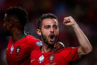Portugal's forward Bernardo Silva celebrates after scoring a goal during the Euro 2020 qualifier football match between Portugal and Luxembourg at the Jose Alvalade stadium in Lisbon on October 11, 2019. (Photo by CARLOS COSTA / AFP)