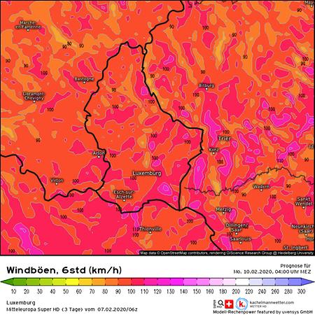 Der Höhepunkt des Sturms trifft Luxemburg voraussichtlich in der Nacht zum Montag.