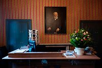 A portrait of Victor Hugo is seen at the entrance of the Hauteville house on April 5, 2019 during a press visit in Saint Peter Port, the capital of Guernsey island. - The Hauteville house was the residence of French writer Victor Hugo during his exile in Guernsey and also a work of art by its layout and decor, designed by Victor Hugo himself. (Photo by Lionel BONAVENTURE / AFP)