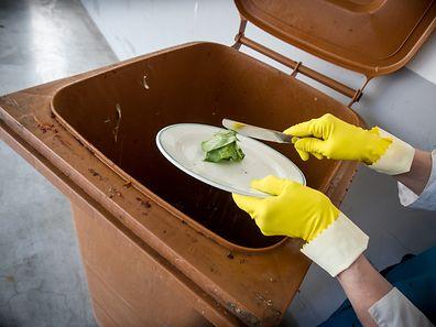 Küchenabfälle gehören in die braune Biotonne. Noch essbare Lebensmittel nicht.