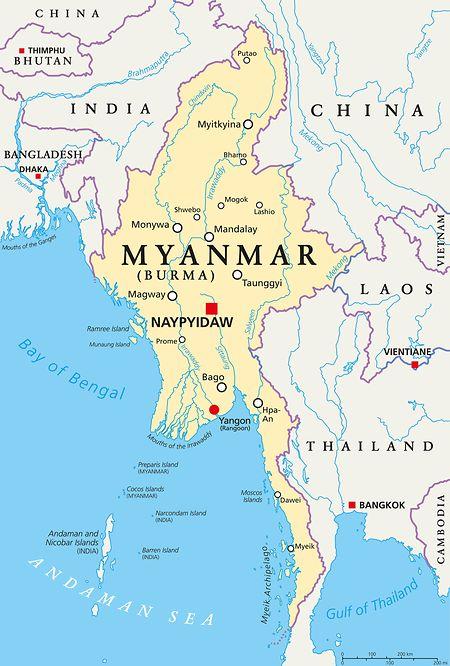 Myanmar (ehemalig Birma) grenzt an Thailand, Laos, die Volksrepublik China, Indien, Bangladesch und den Golf von Bengalen.