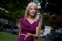 (FILES) In this file photo taken on August 06, 2020 Counselor to the President, Kellyanne Conway,  talks to reporters outside the White House, in Washington, DC. - Kellyanne Conway, a senior adviser to President Trump and one of his longest-serving aides, is leaving the White House at the end of the month, she announced on August 23, 2020. (Photo by Olivier DOULIERY / AFP)