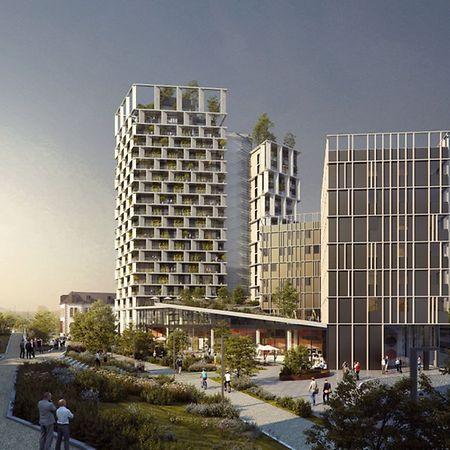 """So soll das Gebäudeensemble für Fußgänger aus Richtung des """"Parc de la Chiers"""" kommend aussehen."""