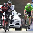 Belgium's winner Greg Van Avermaet of BMC Racing Team (L) sprints ahead of Slovakia's Peter Sagan of Bora-Hansgrohe and Belgium's Sep Vanmarcke of Cannondale Drapac Pro Cycling Team during the 72nd edition of Omloop Het Nieuwsblad, the first cycling race of the season in Belgium running for 198,3 kms from Merelbeke to Merelbeke, on February 25, 2017. / AFP PHOTO / Belga / DAVID STOCKMAN / Belgium OUT