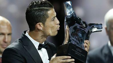Cristiano Ronaldo bedankte sich nach dem Gewinn der Trophäe bei seinen Mannschaftskollegen.