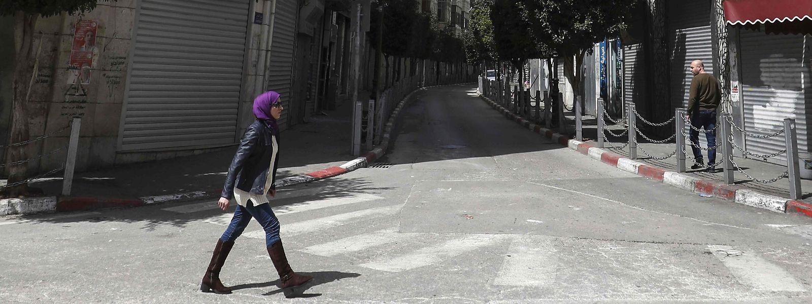 Les rues de Ramallah sont particulièrement désertes ce lundi matin.