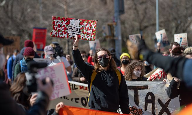 Protestors call to tax the rich in March in New York City