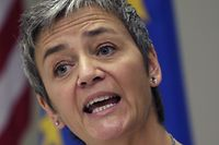 European Commissioner for Competition Margrethe Vestager speaks during a news conference at the EU Delegation in Washington on September 19, 2016. The Commission angered Washington by ruling that US tech icon Apple had received favorable tax terms and ordered it to repay 13 billion euros ($14.5 billion) in back-taxes to Ireland. Vestager is in Washington, to meet with top US officials amid continued complaints over her Apple decision. / AFP PHOTO / YURI GRIPAS