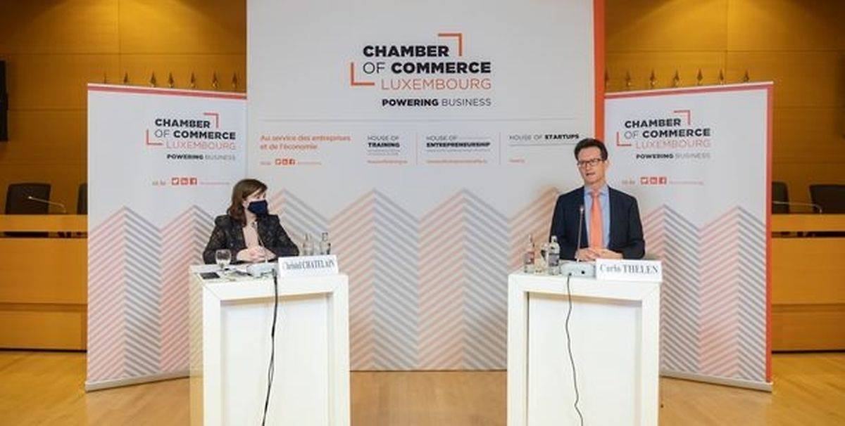 Christel Chatelain, Head of Economic Affairs at the Chamber of Commerce, and Carlo Thelen, the Chamber's Director-General, speaking at the conference Photo: Luxembourg Chamber of Commerce