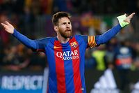 TOPSHOT - Barcelona's Argentinian forward Lionel Messi celebrates at the end of the UEFA Champions League round of 16 second leg football match FC Barcelona vs Paris Saint-Germain FC at the Camp Nou stadium in Barcelona on March 8, 2017. / AFP PHOTO / PAU BARRENA