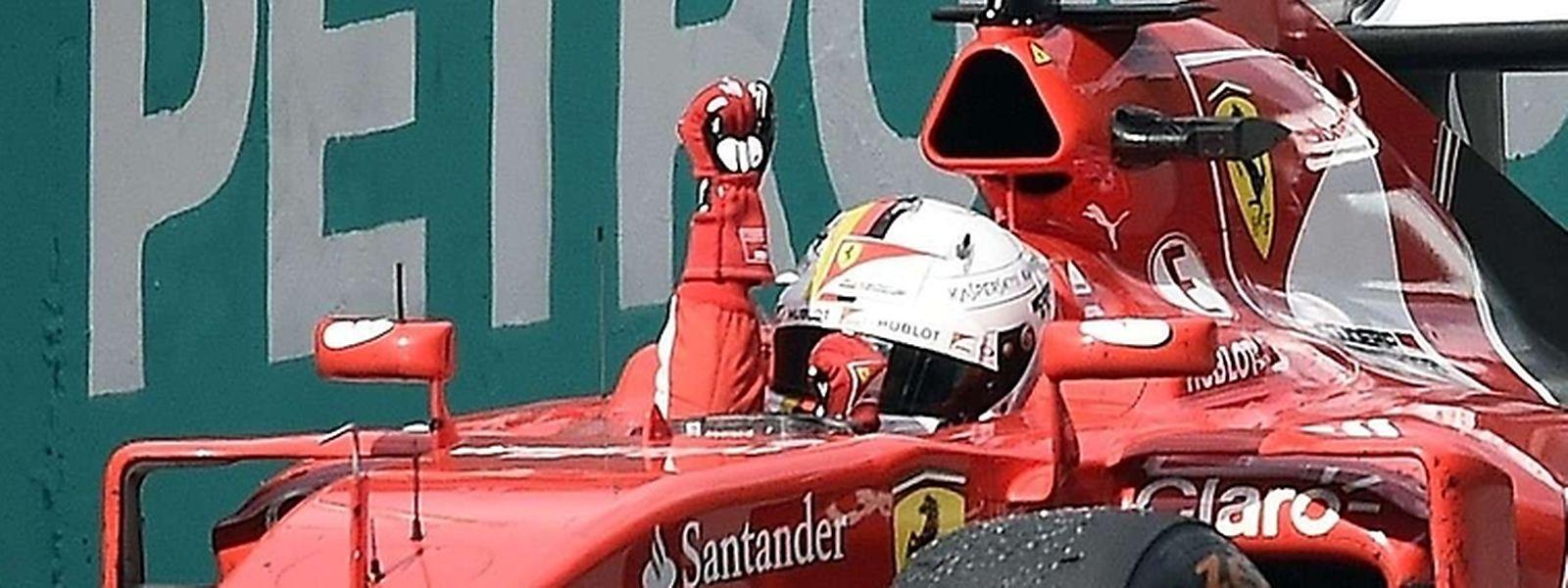 A primeira vitória do piloto alemão com as cores da Ferrari