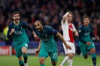 Tottenham's Brazilian forward Lucas celebrates after scoring a goal during the UEFA Champions League semi-final second leg football match between Ajax Amsterdam and Tottenham Hotspur at the Johan Cruyff Arena, in Amsterdam, on May 8, 2019. (Photo by Adrian DENNIS / AFP)