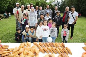 Newly arrived Syrian refugees at the Islamic centre, Mamer