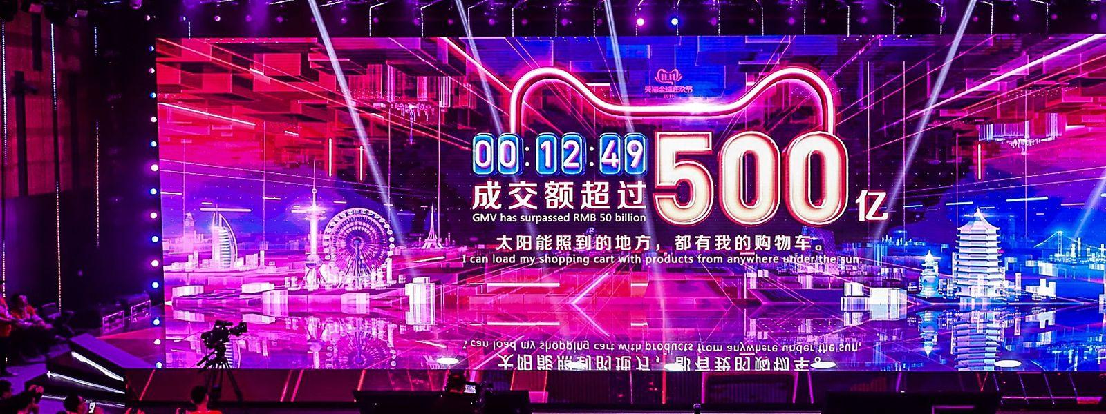 La montée du chiffre d'affaires était à suivre en direct au cours d'un grand show à la gloire du site marchand Alibaba.