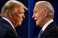 (FILES)(COMBO) This combination of file pictures created on October 22, 2020 shows US President Donald Trump (L) and Democratic Presidential candidate and former US Vice President Joe Biden during the final presidential debate at Belmont University in Nashville, Tennessee, on October 22, 2020. - US stocks rose for a second straight session on November 24, 2020, buoyed by hopes that the start of the presidential transition in Washington hearkens a peaceful transfer of power. Outgoing President Donald Trump still has not conceded his election defeat, but on Monday night, his administration authorized a transition, clearing the way for President-elect Joe Biden to have access to funds, office space and the ability to meet with federal officials. About 20 minutes into trading, the Dow Jones Industrial Average stood at 29,896.78, up 1.0 percent. (Photos by Morry GASH and JIM WATSON / AFP)