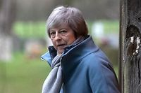 """Britain's Prime Minister Theresa May leaves after attending a church service, near her Maidenhead constituency, west of London on January 13, 2019. - British Prime Minister Theresa May on Sunday warned MPs preparing to vote down her EU divorce deal that failing to deliver Brexit would be a """"catastrophic and unforgivable breach of trust in our democracy"""". (Photo by Daniel LEAL-OLIVAS / AFP)"""