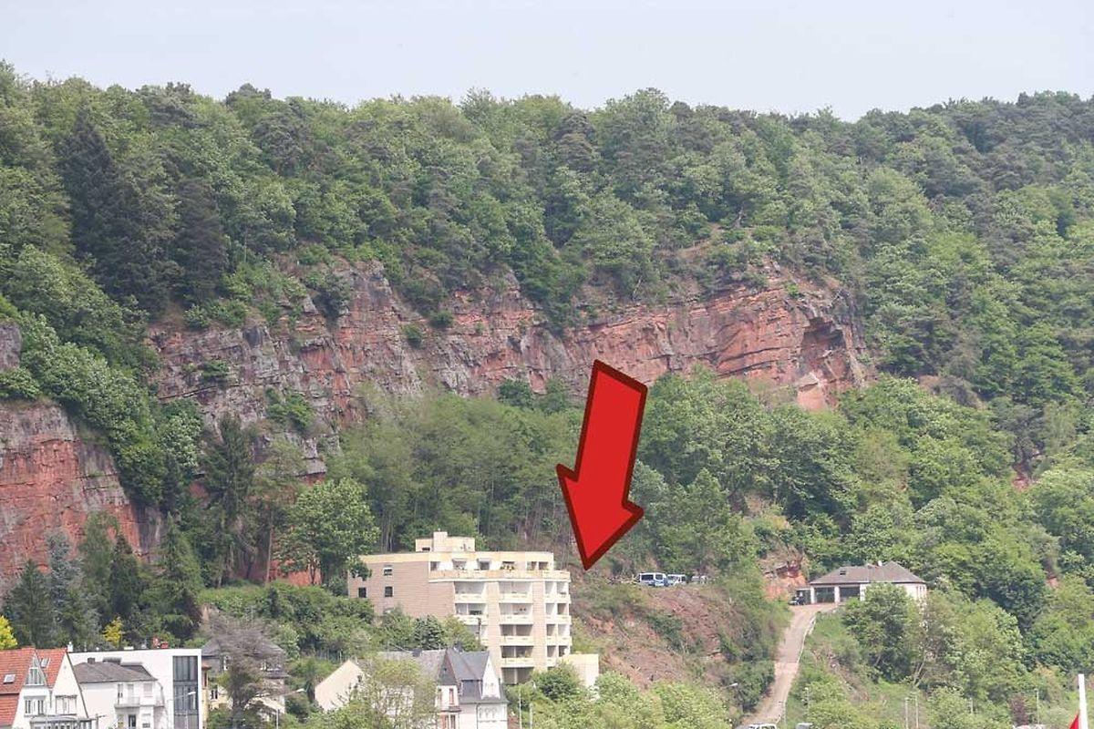 An dieser Stelle wurden die Überreste von Tanja Gräff gefunden - 20 Meter vom Garten des Apartmenthauses (Bildmitte) entfernt.