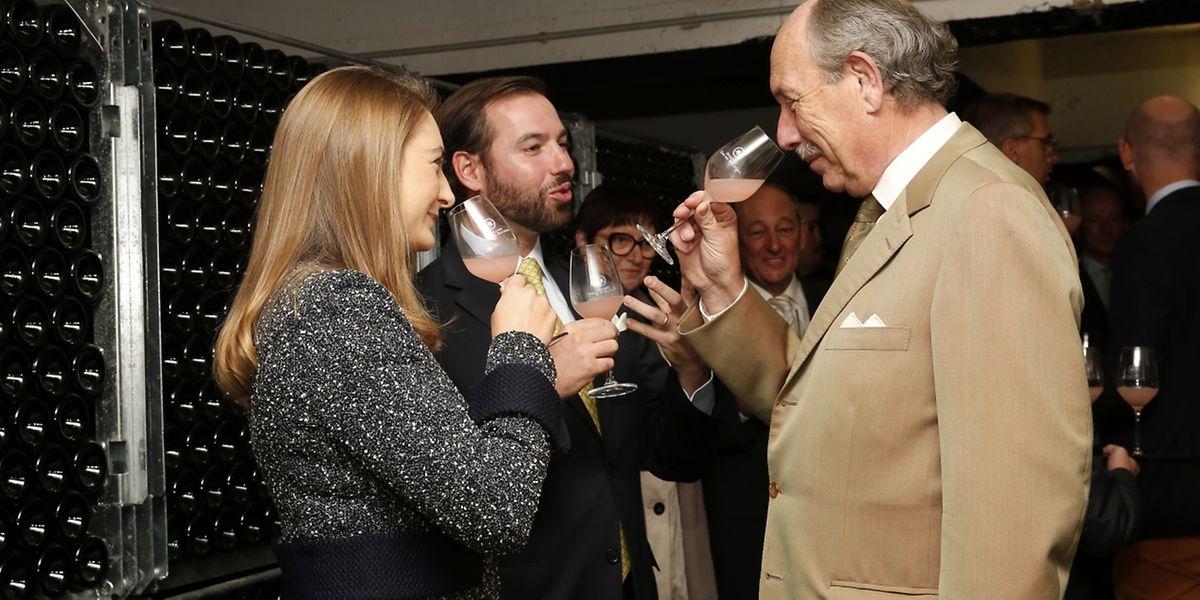 Bernard Massard, visite de la cave du couple héritier LL.AA.rr Guillaume et Stéphanie