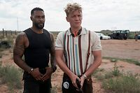ARMY OF THE DEAD (L to R) OMARI HARDWICK as VANDEROHE and MATTHIAS SCHWEIGHÖFER as DIETER in ARMY OF THE DEAD. Cr. CLAY ENOS/NETFLIX © 2021