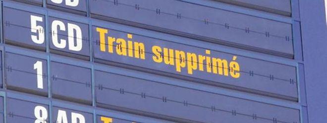 As linhas afectadas são as de  Metz, Rodange/Esch e Arlon.