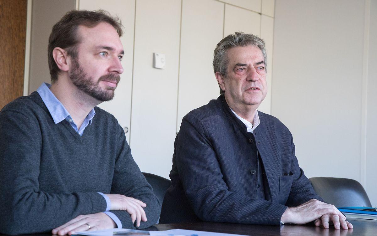 """Cluster-Manager Philippe Genot und Präsident René Witry ziehen nach zwei Jahren """"Wood Cluster"""" Bilanz (v.l.)"""