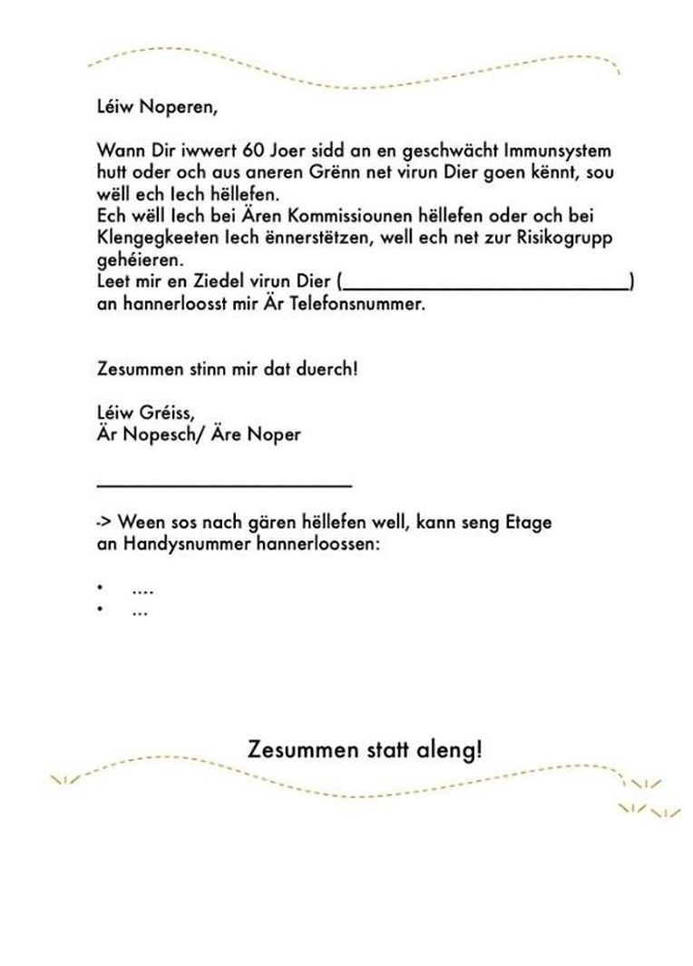 """Die Facebook-Initiative """"GoldenMe Luxembourg"""" stellt diesen Musterzettel zur Verfügung."""