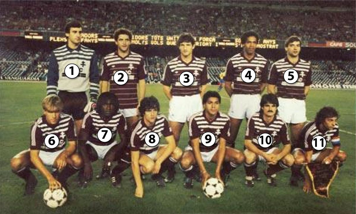 Les onze héros du Nou Camp, vainqueurs du FC Barcelone 4-1 Jean-Paul Bernad est capitaine (en bas à dr.).