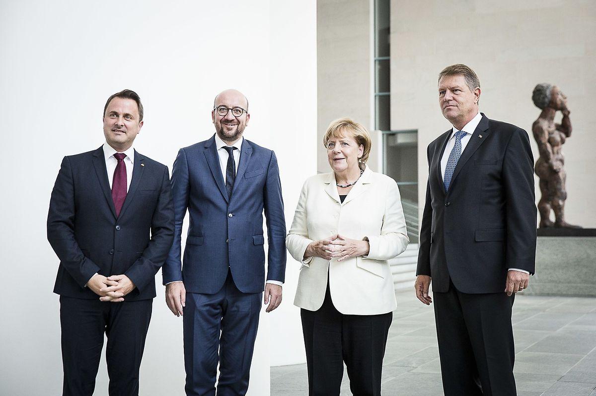Xavier Bettel, le Premier ministre, Charles Michel, le Premier ministre belge; Angela Merkel, la chancelière d'Allemagne et Klaus Iohannis, président roumain, se sont retrouvés ce vendredi à Berlin.