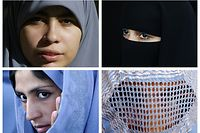 """TO GO WITH AFP STORY BY SAMER AL-ATRUSH<br />(FILES) -- This combination picture created from AFP file images on June 19, 2009 shows Muslim women wearing a Hijab (top L), a Niqab (top R) a Tchador (down L) and a Burqa.  A French parliament report called on January 26, 2010 for a ban on the full Islamic veil, saying Muslim women who wear the burqa were mounting an """"unacceptable"""" challenge to French values. After six months of hearings, a panel of 32 lawmakers recommended a ban on the face-covering veil in all schools, hospitals, public transport and government offices, the broadest move yet to restrict Muslim dress in France.<br />   AFP PHOTO (LtoR) CRIS BOURONCLE/FAROOQ NAEEM/BEHROUZ MEHRI/FARZANA WAHIDY"""