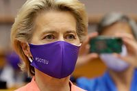 European Commission President Ursula Von Der Leyen arrives to address her first state of the union speech during a plenary session at the European Union Parliament in Brussels on September 16, 2020. (Photo by OLIVIER HOSLET / POOL / AFP)