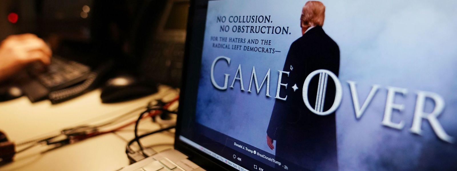 """In einer von """"Game of Thrones"""" inspirierten Fotomontage teilte Donald Trump seinen Kritikern noch am Donnerstagabend triumphierend über Twitter mit, es sei nun """"Game Over"""" für sie."""