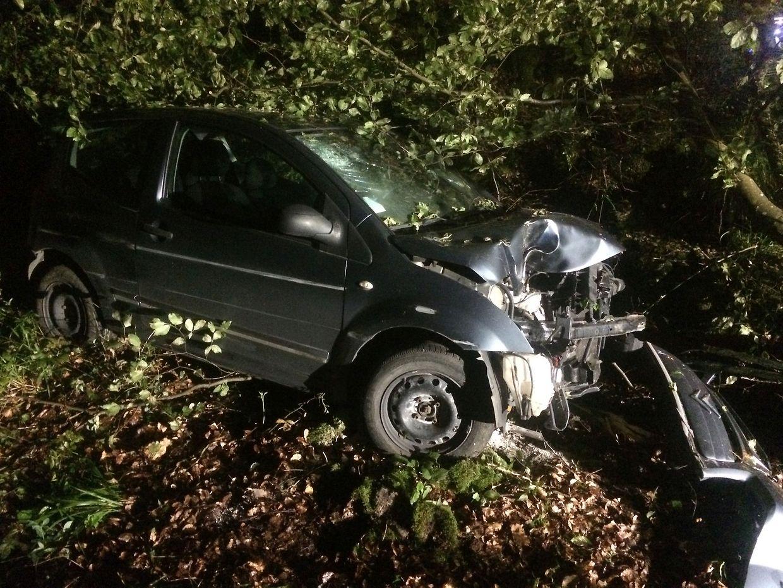 Beim Unfall wurden die Fahrerin und ihr Beifahrer leicht verletzt.