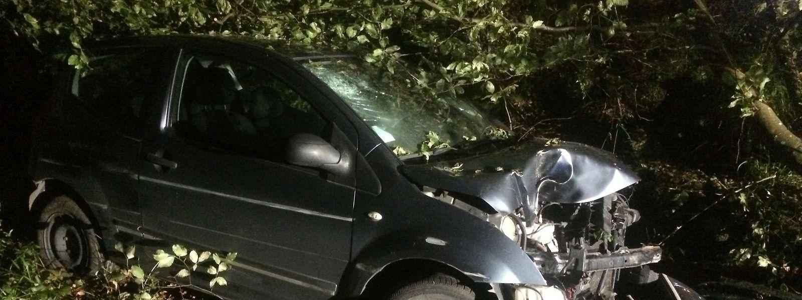 Die Fahrerin ist von der Straße abgekommen und frontal gegen einen Baum geprallt.