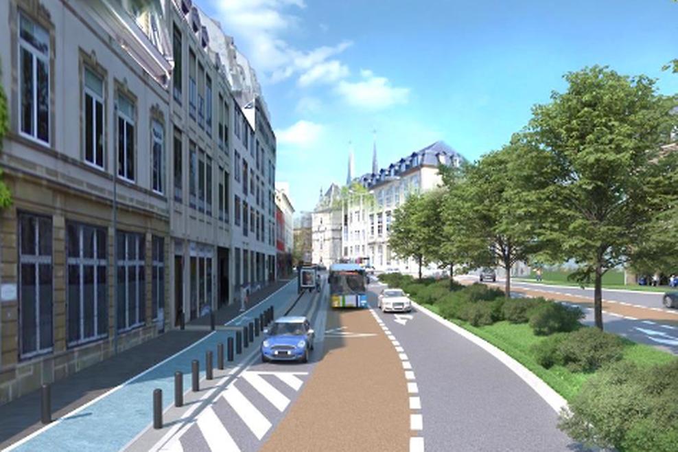 Die aktuelle Situation ... und das Bild nach der Umgestaltung mit separatem Radweg links und einer Busspur.