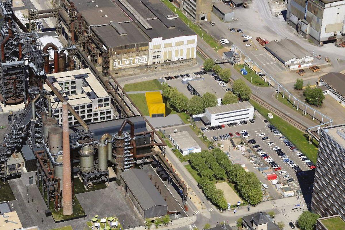 """Gelb eingezeichnet ist auf dieser Grafik das """"Skip""""-Gebäude, das sich derzeit noch in Raemerich befindet."""