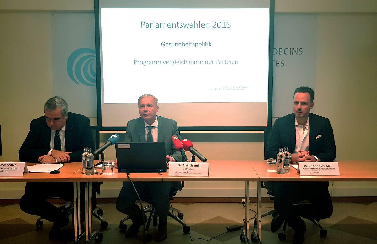 Dr. Marc Peiffer, Generalsekretär der AMMD; Dr. Alain Schmit, Präsident der AMMD; Dr. Philippe Wilmes, Mitglied des Verwaltungsrats der AMMD (v.l.n.r.)