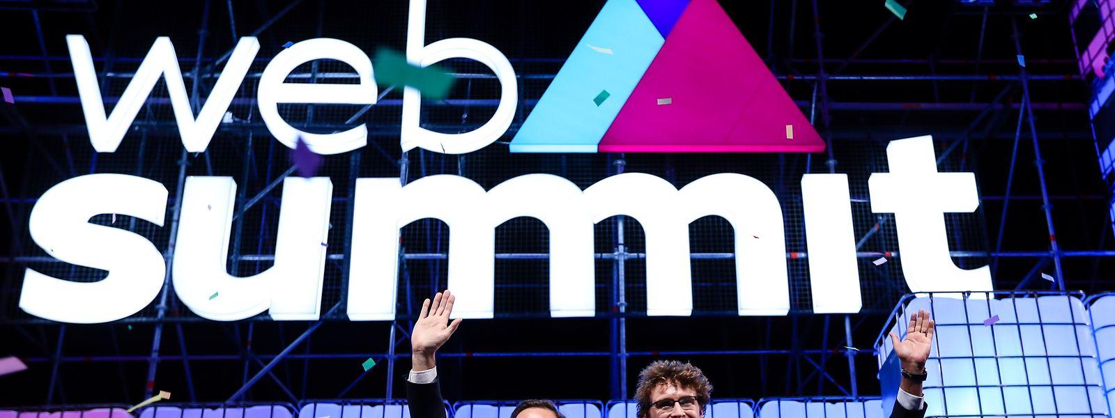Fernando Medina, Paddy Cosgrave e António Costa na 7° Web Summit, em Lisboa.